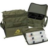 РС-1у сумка рыбацкая трехсекционная с пластиковыми коробами